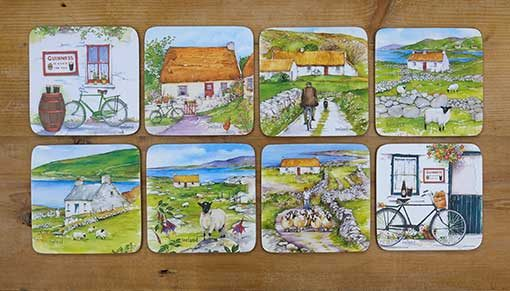Ireland art coasters by Irish artist Pat Flavell